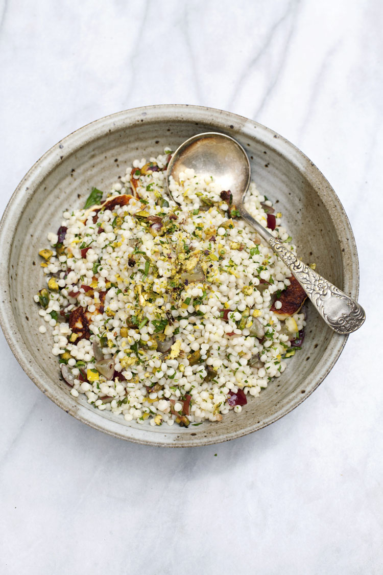 Lemon pistachio Israeli couscous by Seven Spoons on @thouswellblog