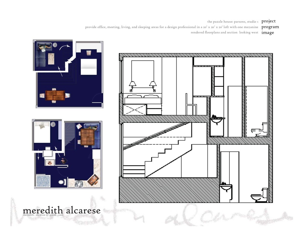 the second floor is given over to the largest space, both in floor space and ceiling height.  the kitchen and seating area are the heart of this home, with access to the bathroom and a private stair up to the bedroom.  this third floor is a cozy space, nestled above the seating area below, with a second entrance into the bathroom for privacy when guests are being entertained.  the bathroom, like the kitchen, has soaring 12' ceilings, and the sink is puzzled cleverly into a space shared with the vanity on the other side of the wall.