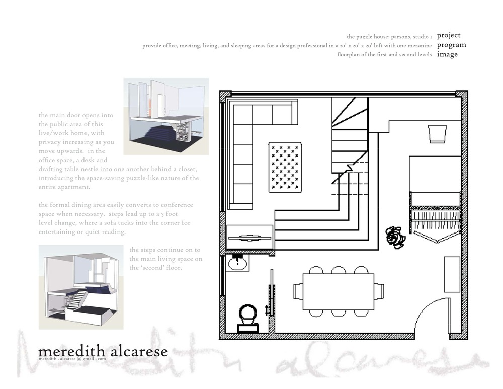 the first floor contains the working spaces, so that a client entering the apartment doesn't have to pass through any private spaces.  the dining table can be used as a conference area, and a floor-to-ceiling bookcase screens off the office area with a double desk that maximizes space.  stepping up onto the first level change, we have the sitting area that looks easily onto the dining table or up to the kitchen on the next floor.