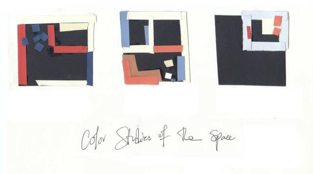 color studies of the various levels were collage together in the planning stage.  the whole house shares a palate of blue, white and coral, with a deep navy defining all floor and ceiling surfaces to emphasize the changes in levels as the color wraps from one floor to the other.  other colors are gradiated with the levels as well: the first floor is done in the most intense shades, with the ceruleans and corals fading through the second floor into whites with just a hint of color in the tiny, airy bedroom.