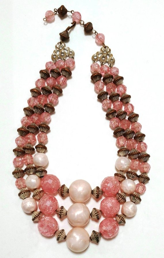 Midcentury vintage pink Lucite necklace , Etsy, $16