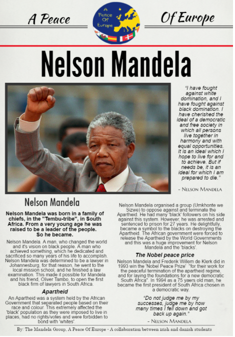 Poster we made collaboratively with a Danish class about Nelson Mandela. We used Padlet and Skype to communicate with the Danish students.