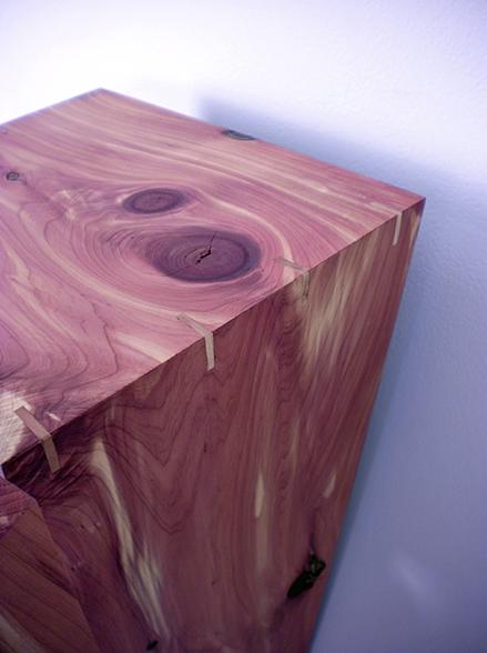 Vertigo Cabinet (Detail) , 2010   18'' x 13'' x 43''  Aromatic Cedar, Cherry, Rubber