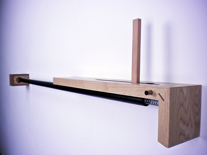 "Bolt-Action Shelf/Drawer,  2011   4' x 8"" x 6""  Ash, Poplar,Mahogany, Steel"