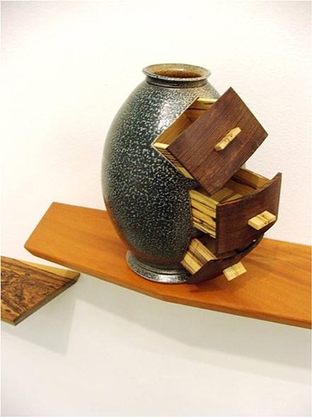 Vase with Drawers,  2009     6 ½'' x 5 ¼'' x 7 ¾''    Wenge, Spalted Maple, Stoneware Cone 10 Salt Fire, Sprayed Glaze
