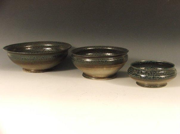 "  Nesting Bowls,  2009   12"" x 12"" x 8""  Cone 10 Stoneware, Ash Glaze"