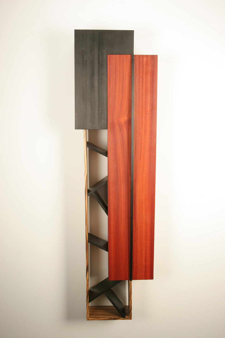 Wine Cabinet , 2008   18'' x 8'' x 63''  Bloodwood, Zebrawood, Leather Dyed Poplar, Curly Zebrawood veneer