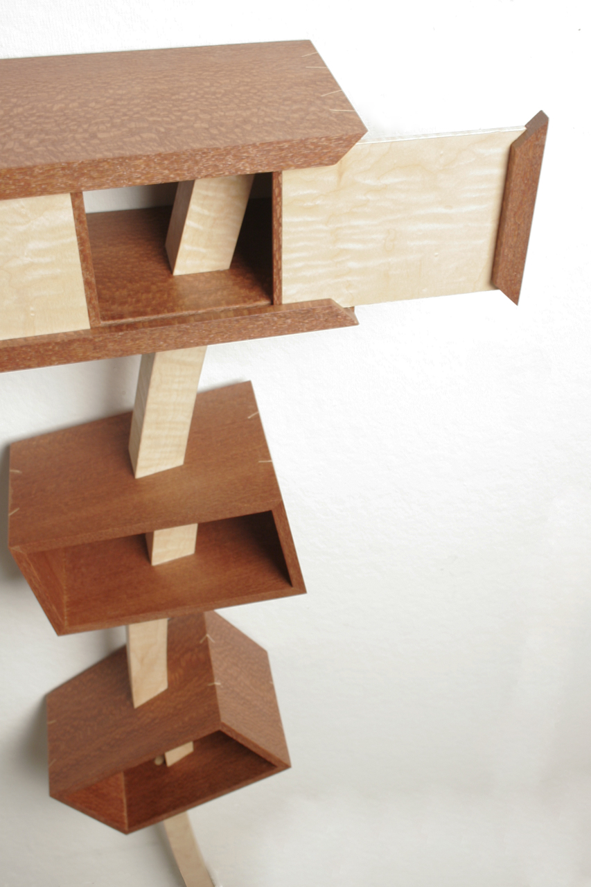 "Leg A or B (Detail), 2009   27 ½"" x 6"" x 40""  Leopard wood, Curly Maple veneer, Poplar"