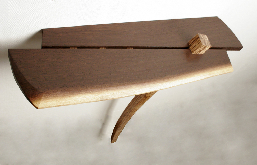 Wenge Console Table,  2009     29'' x 8 ½'' x 32 ½''     Wenge, Poplar with curly Zebrawood veneer