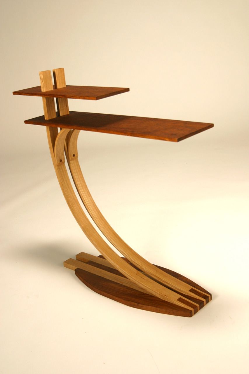 Tiered Side Table,  2007     28'' x 8'' x 29''    Teak, Ash