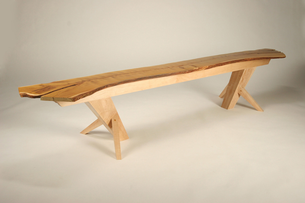 Osage Bench,  2008     8' x 15'' x 18''        Osage book-matched slaps, Curly Maple