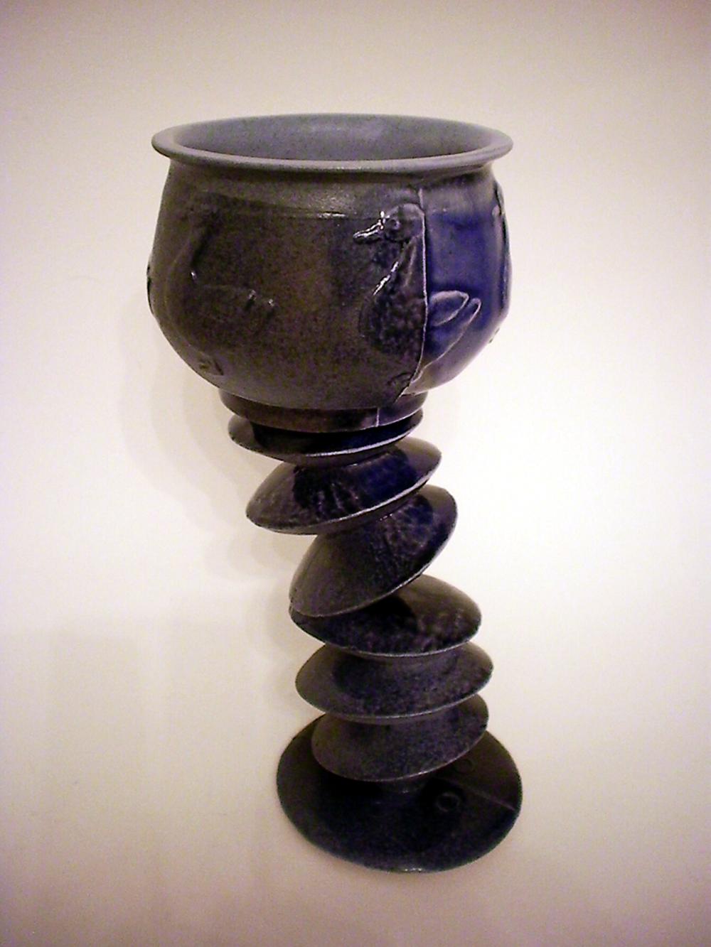 "Nostalgic Wine Glass,  2009   8"" x 3"" x 4""  Cone 10 Porcelain, Celedon, Ash Glazes"
