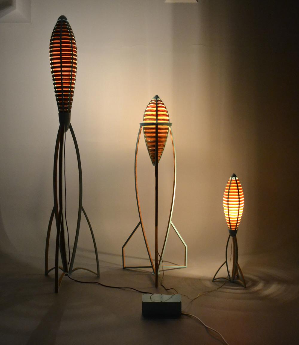     Tsiolkovsky Lamp Series  , 2013      8' - 3' Range  Veneer, Poplar, Paint   Photographed by Ryan Gray