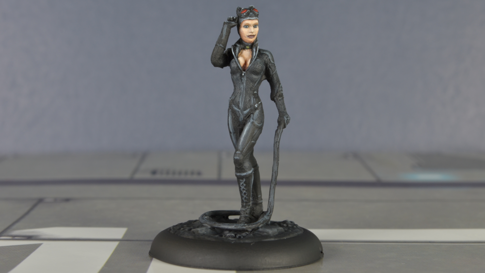 I struggled for hours with Catwoman's round face. I never could get her face to be worthy of the sexy Selina Kyle. In fact, I decided to just leave her without makeup in my final attempt.