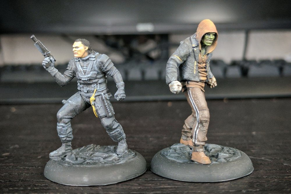 Slipknot and Killer Croc from Knight Models's Suicide Starter Box. I did a bunch of experimenting with these models, and none of those experiments turned out great...