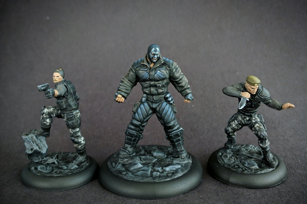 Clover, Bane, and McGregor. Mercenaries to murder the Bat with. The shadows on Bane are actually painted there. It still surprises me.