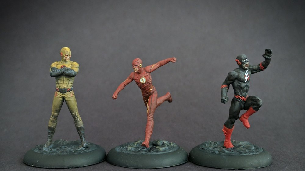 The Reverse Flash, The Flash, and the Black Flash. Three speedsters for the Batman Miniature Game.
