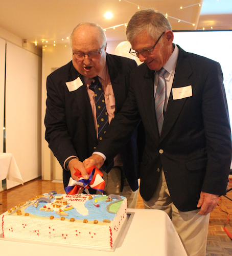 peter boyce & john john mcleod cutting the cake