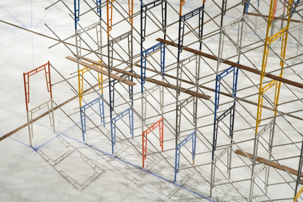 09_Tom Lauerman, Scaffold (work in progress), 2004 - present; wood, metal, paint; 120x60x72.jpg