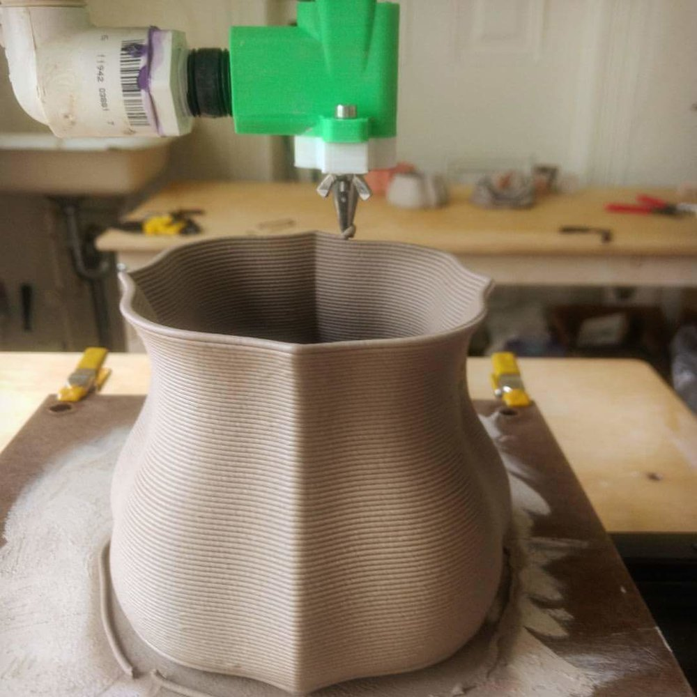 extruding a tableware form with an Architecture student, Spring 2017