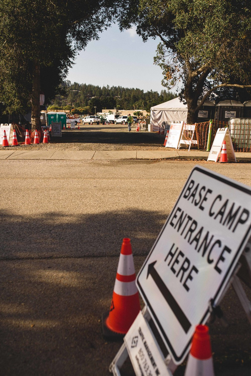 September - November, 2018, Pacific Gas and Electric and contract tree workers had a basecamp set up in Scotts Valley, California.