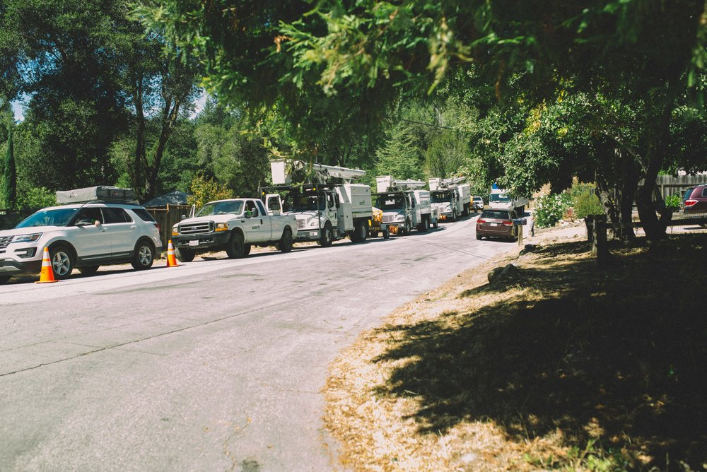 Contract tree workers arrive in a neighborhood to begin Wildfire Safety program work removing trees and vegetation near PG&E high voltage power lines.