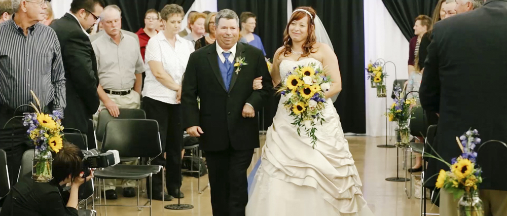 Kade and Brook were married indoors at the Kansas State Fairgrounds in Hutchinson, Kansas