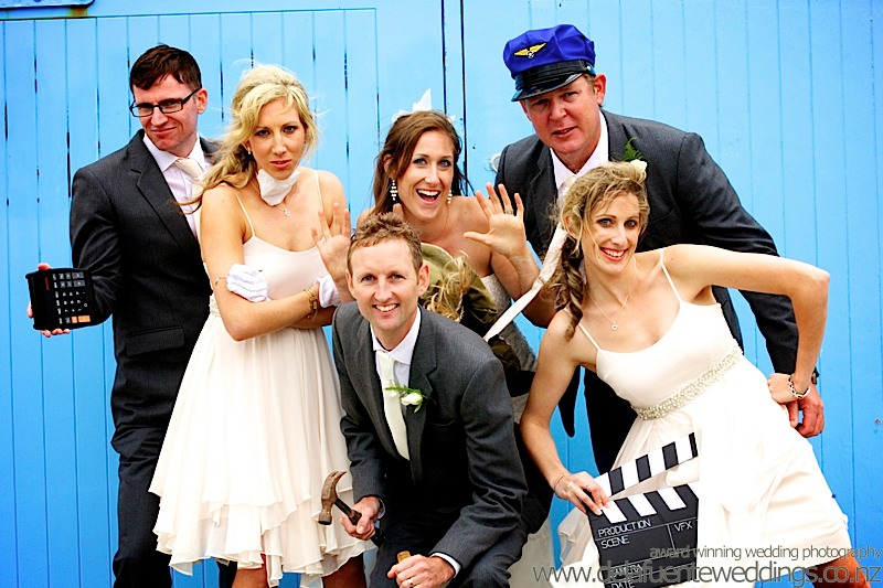 bridal party photo, the Village People