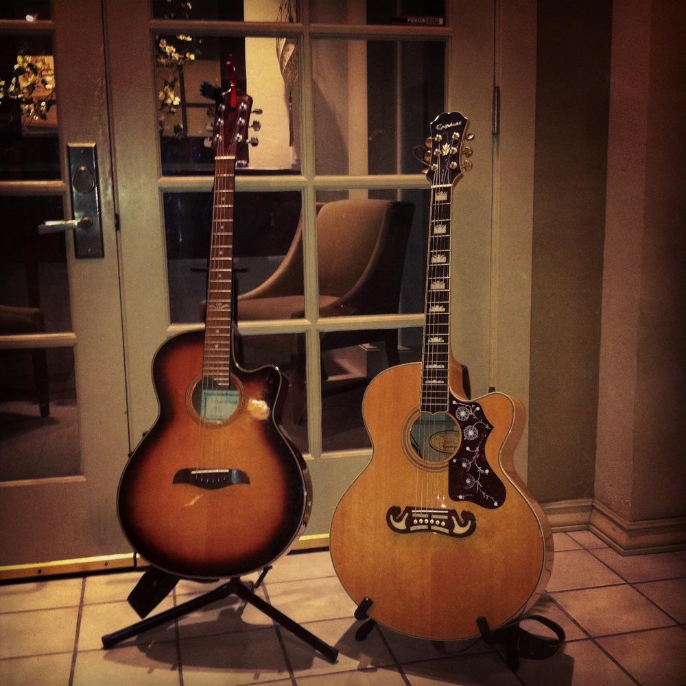 Pre-gig guitars