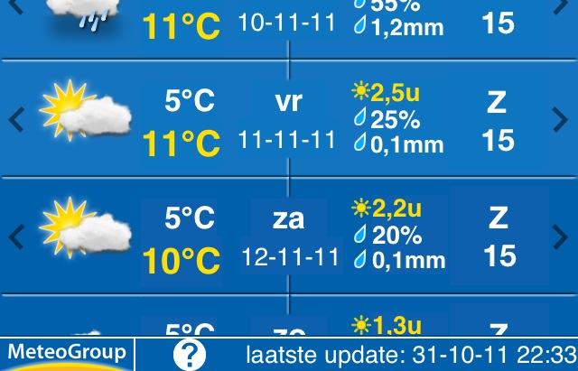 en op 11-11-11 natuurlijk 11 ºC