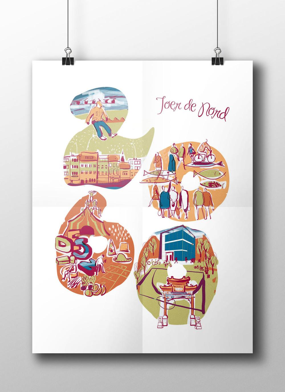 Ilustración para la promoción editorial del Festival de Artes del barrio 2060 en Amberes, Bélgica