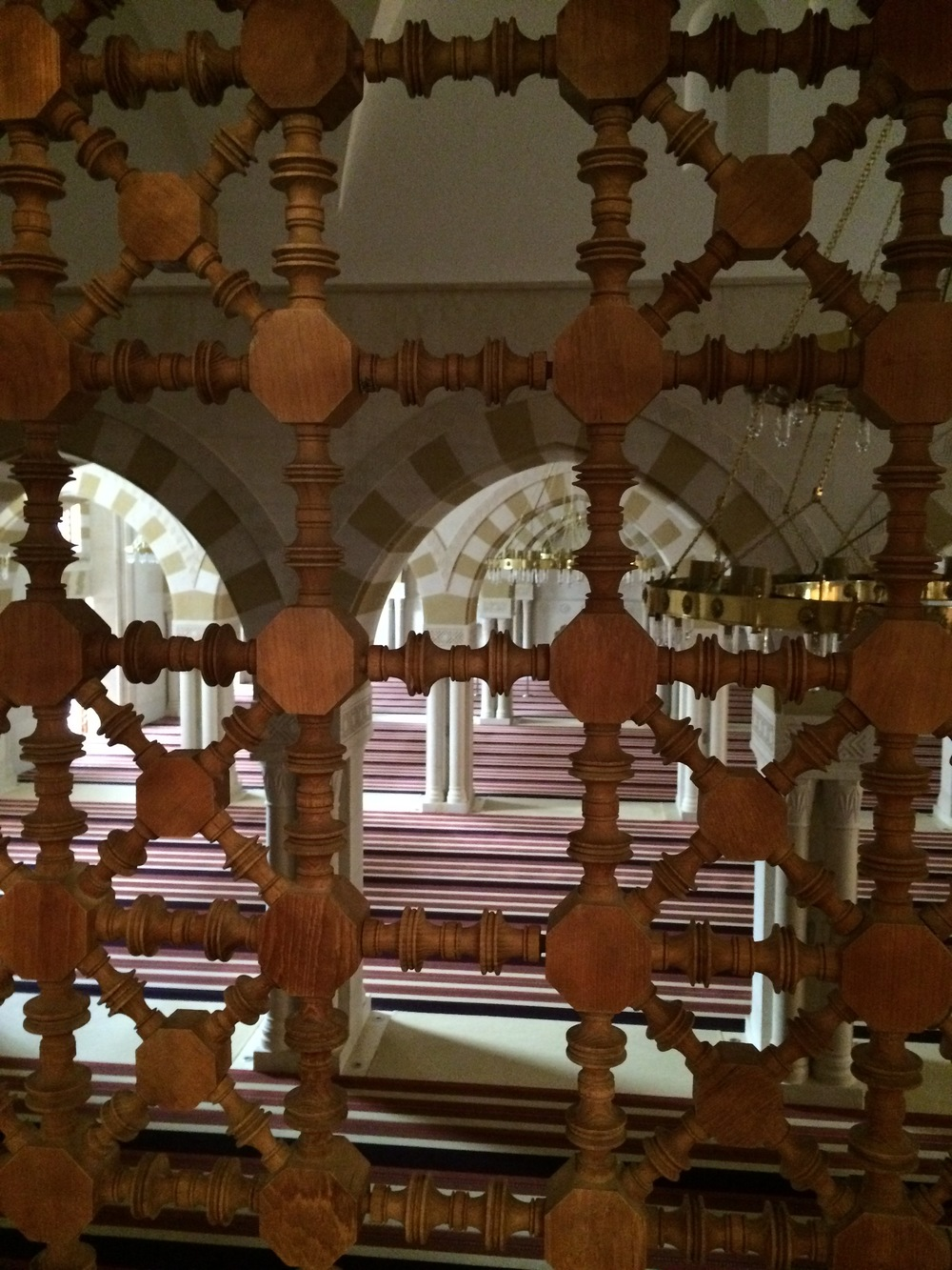 The view into the larger section of the mosque from the women's section.