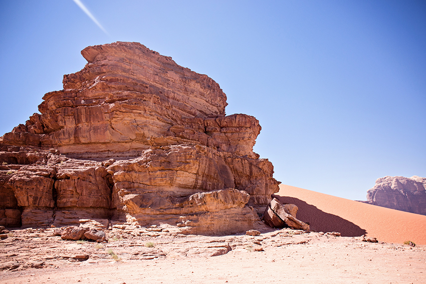 In the desert of Wadi Rum