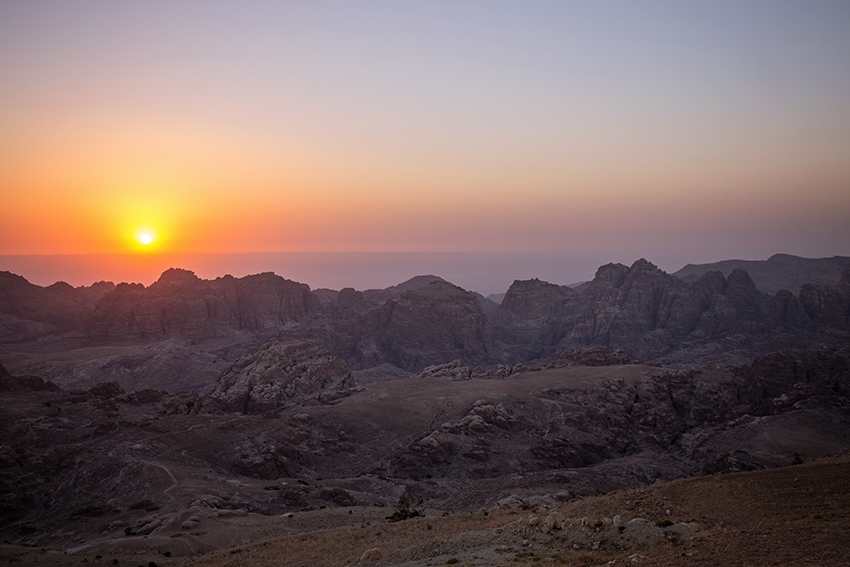 Sunset after our visit to Petra. I was emotionally and physically exhausted, but I found this moment so breathtaking that I stopped eating dinner to capture this image.