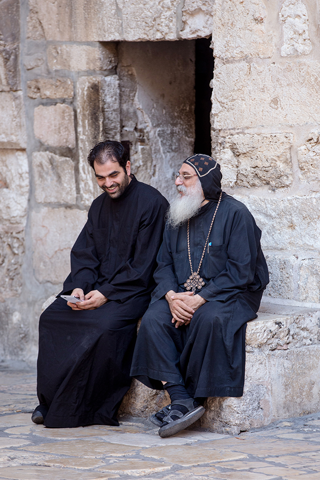 Two holy men outside of the Church of the Holy Sepulchre