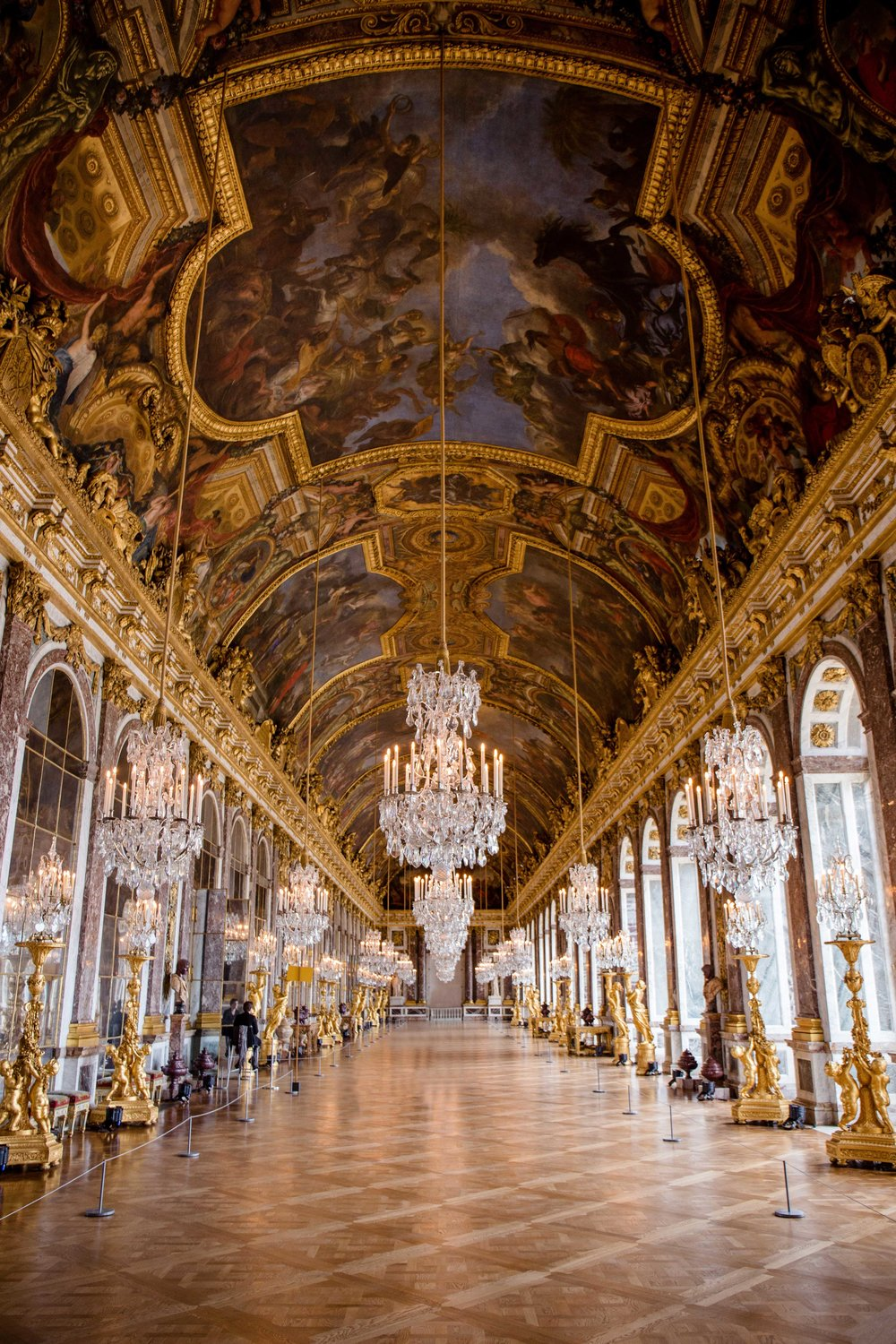 We were the fifth people in line to enter Versailles and so I was able to capture this stunning picture of the Hall of Mirrors.  When I was last in Paris 10 years ago, they were doing reconstruction work in this room and everything was covered up--so it was exciting to spend some quiet time alone in the room before the crowds of people arrived.
