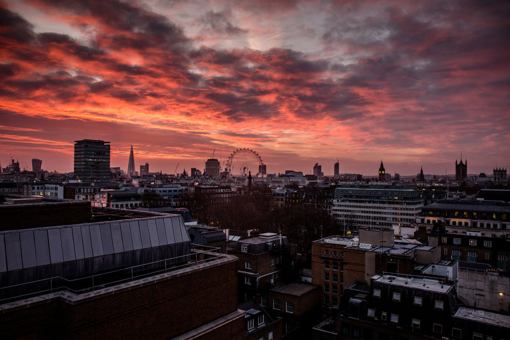 Amazing sunset view of London from our hotel room