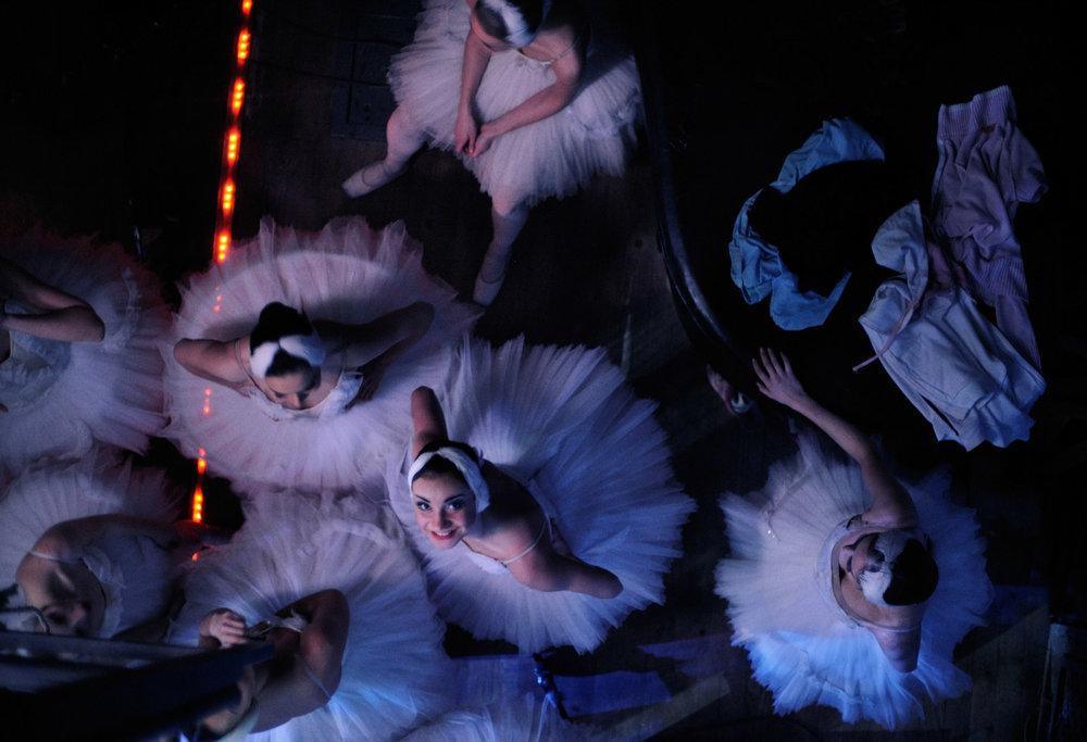 Backstage during Swan Lake
