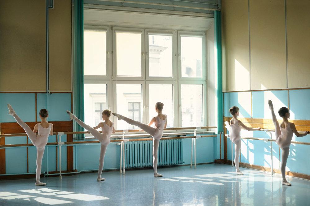 Junior ballet class taught by Elzbieta  Raczynska-Warzec at Warsaw Ballet School, Poland.