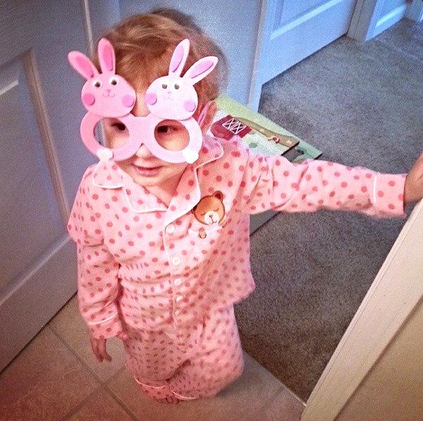 Oh my goodness, how cute is this photo. Thank you Easter Bunny for becoming part of Shelby's fashionista stage.