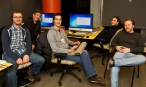 Left to right: Arshan Gailus (Music), Elliott Mitchell (Art), Ethan Fenn (Programming), Gregory Kinneman (Programming), Jonathon Myers (Design and Writing), and (not pictured) Courtney Stanton (Producer).