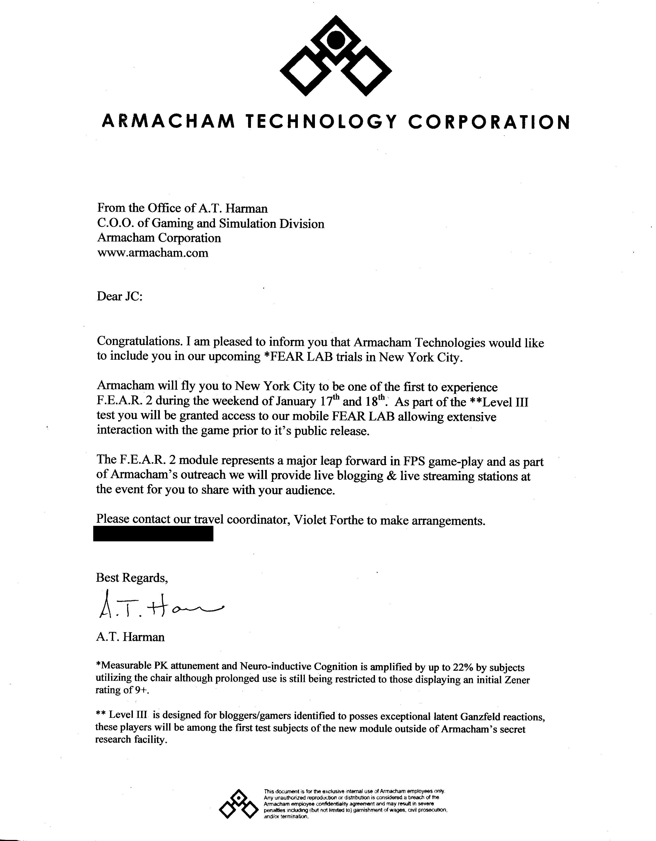 Armacham letter -- Click for larger version