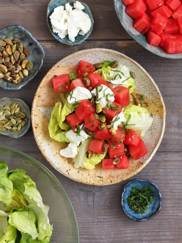 Watermelon Salad with Goat Cheese, Nuts + Herbs (gluten free)