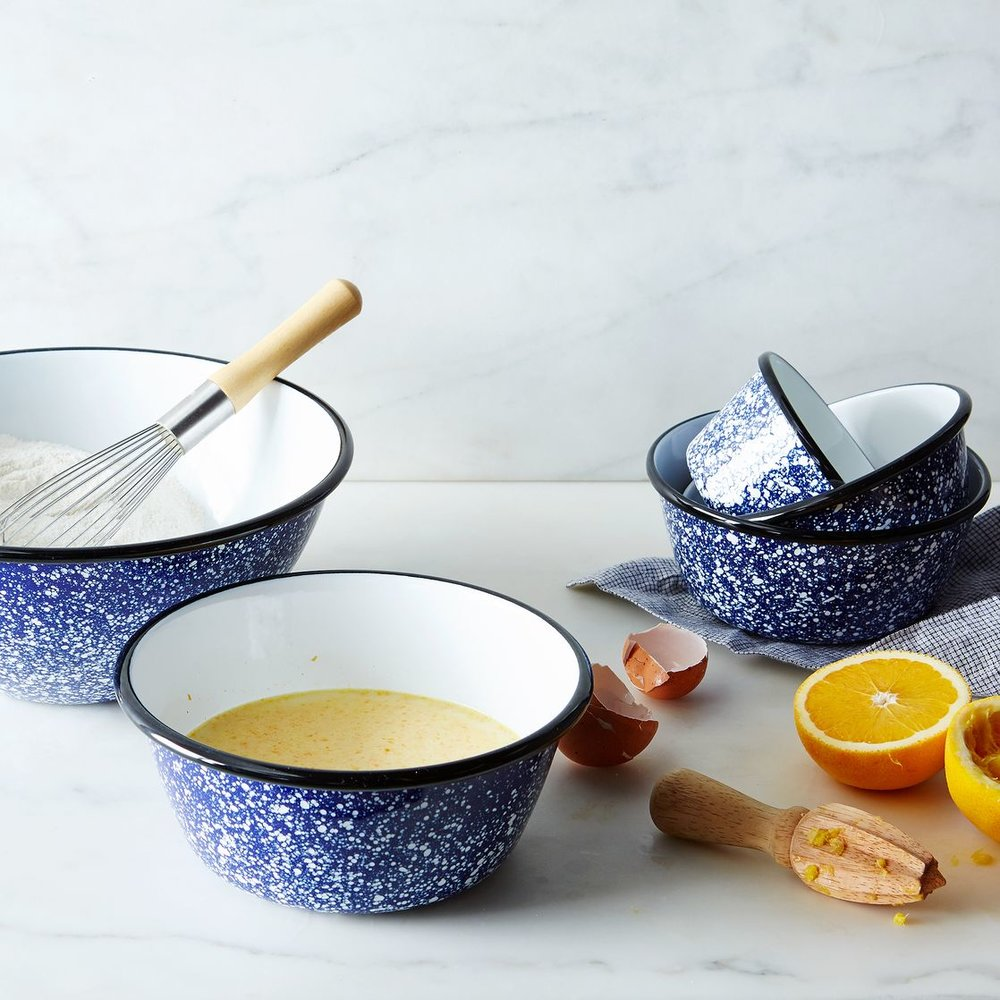 porcelain nesting splatterware bowls with a vintage feel. $130 from  food52