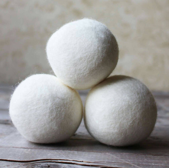 Wool dryer balls (3) on Etsy, $15.99