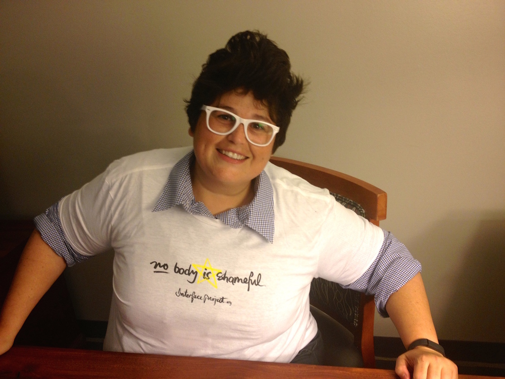 AIS-DSD Support Group President, Georgiann Davis, seen here sporting the latest in intersex advocacy fashion. (San Francisco, California, 2014)