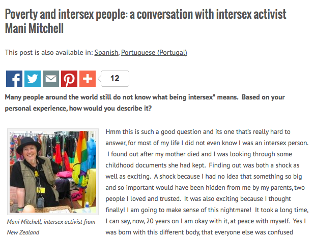 Micro Rainbow International interviews Mani Mitchell on intersex and poverty.