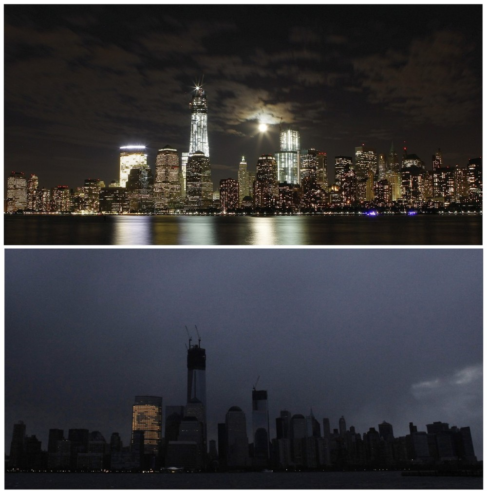 REUTERS/Gary Hershorn/Eduardo Munoz, Lower Manhattan before and after Hurricane Sandy, via  Washington Post .