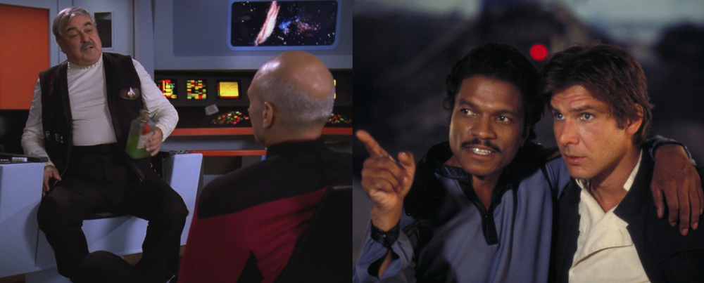 Star Trek's Scotty and Picard, Star Wars's Lando and Han Solo