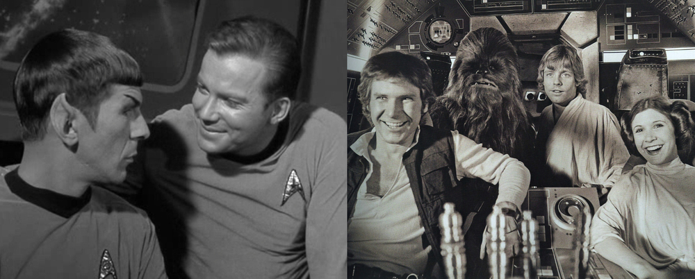 Star Trek's Kirk and Spock, Star Wars's Han Solo, Chewie, Luke, and Leia